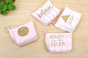 Coin Purse Pink & White Stripes Wallet Women Cloth Coin Wallet Portable Mini Wallets Zipper Coin Key Bags Hawaii wedding birthday party favo on Sale