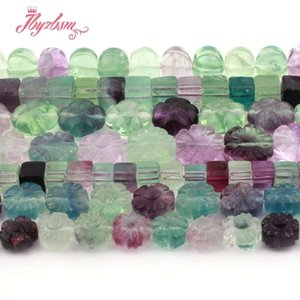Wholesale Natural Stone Beads Square Flower Multicolor Fluorite Beads For DIY Necklace Bracelat Earring Jewelry Making quot