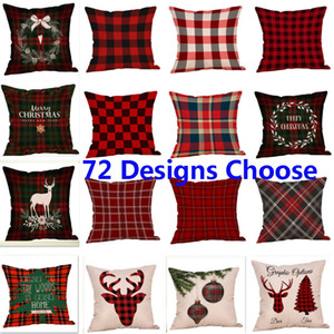 Wholesale Pillow Case Cover Christmas Stripe Cushion Covers New Plaid Linen Sofa Pillow Case Cushion Cover Xmas Gift Home Decor 72 Style HH7-1849