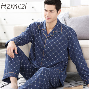 Hzmczl 2018 Pyjamas Men Print Pyjama Homme Casual Plus Size Cotton Sleepwear Mens Lounge Wear Loungewear Winter Sleep Sets
