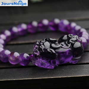 Wholesale Purple Natural Crystal Bracelets mm Beads With PiXiu Brave troops for Women Girl Gifts Romantic Crystal Jewelry