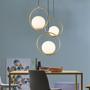 Wholesale modern round pendant lights for sale - Group buy Modern Gold Metal Round Globe Pendant Lights Restaurant Bar Light Fixtures Indoor Glass Ball Pendant Lamps Bedside LED Hang Lamp