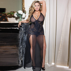 Wholesale Sexy Lingerie Babydoll Long Black Transparent dress Hot Erotic Costumes Women Underwear Erotic dress with thong Plus size XL Y18102206