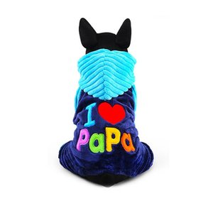 Wholesale papa clothing resale online - New Love Mama Papa Clothing Dlyamalenkih Dogs Pink Blue Winter Warm Pets Cats Costumes Products For Yorkie Terrier Dachshund