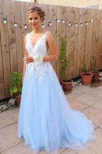 Wholesale Appliques Prom Dress Gowns 2019 Light Blue Tulle Backless Women Formal Dresses Evening Wear A-line Evening Dress Floor length Prom Dress