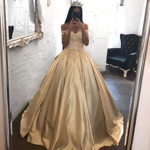 Wholesale 2018 Golden Off The Shoulder Satin Ball Gown Prom Dresses Lace Applique Floor Length Quinceanera Princess Party Evening Dresses
