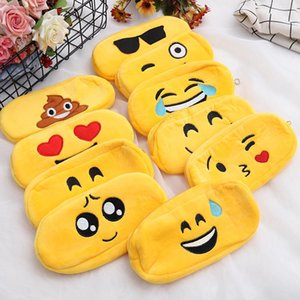 Wholesale 100pcs Kawaii Emoji Plush PencilsBags Boy Girl Pencil Case Durable Large Capacity School Supplies Stationery High Quality