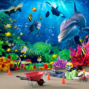 Wholesale 3D Wallpaper Personalized Customization Underwater World Dolphin Cartoon Children D Wall Mural Photo Wall Paper for Boys and Girls Children
