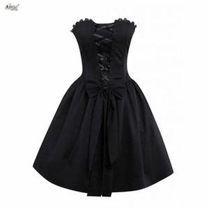Wholesale A line Defined Waist Mini Dress Ainclu Womens XS XXL Punk Style Black Sleeveless Cotton Lolita Dress for Casual Birthday Party