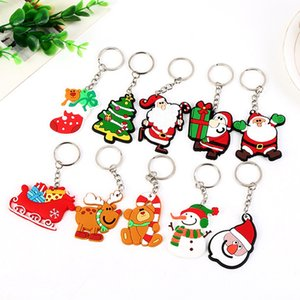 Christmas Keychain Santa Claus Christmas Tree Snowman PVC Keyrings Cute Carton Bag Accessories Kids Toys Christmas Promotion Gifts