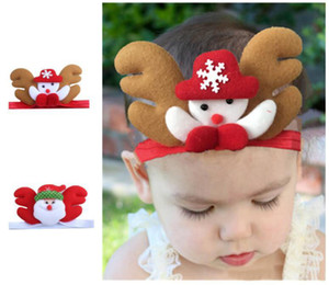 Wholesale 2019 Newest Christmas Headbands For Children Cartoon Santa Snowman Pattern Elastic Hairband For Baby Girls Party Hair Accessories
