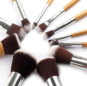 Wholesale 11Pcs Makeup Brushes Cosmetics Tools Natural Bamboo Handle Eyeshadow Cosmetic Makeup Brush Set Blush Soft Brushes Kit With Bag gift