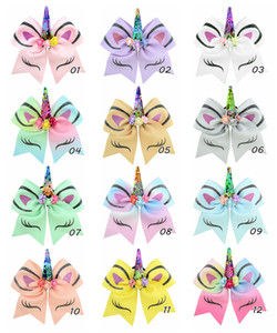 Wholesale Hot sale Inch Colors Children Unicorn Bronzing Flip Sequins Dovetail Bow Hair Bands Girls Hair Clips Baby Hair Accessory