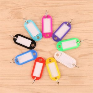 Wholesale Crystal Plastic Key ID Label Tags Card Split Ring Keyring Keychain New Arrival Assorted Red Pink Green Blue Yellow