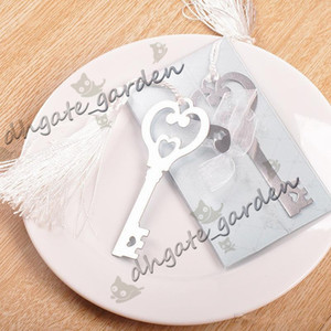 Wholesale Metal quot Key to my Heart quot Heart shaped Key Bookmark with White silk Tassel wedding party Gifts favors