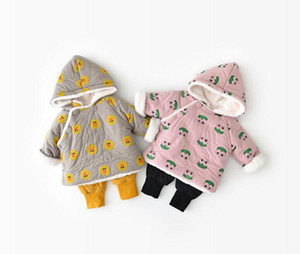 Wholesale Baby Girls Winter Coats Frog Duck Printed Coat With Hood Cartoon Design Outwears Kids Winter Warm Outwear Designer Cotton Clothes LM87
