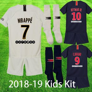 Wholesale 2018 MBAPPE Kids Kit Soccer Jersey with Socks Paris CAVANI VERRATTI DI MARIA child maillot de foot Boys Football Uniform