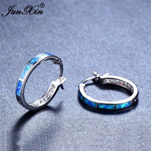Wholesale JUNXIN Bohemian Girl Round Hoop Earrings Cute Blue White Opal Circle Earrings Fashion Sterling Silver For Women