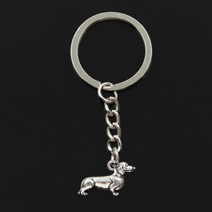 Wholesale Fashion mm Key Ring Metal Key Chain Keychain Jewelry Antique Silver Plated dog dachshund mm Pendant