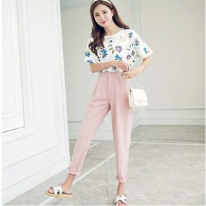 Wholesale Summer Korean Style New Women Fashion Slim Solid Color Ankle Length Pants Female Classic High Elastic Waist Harem Pants