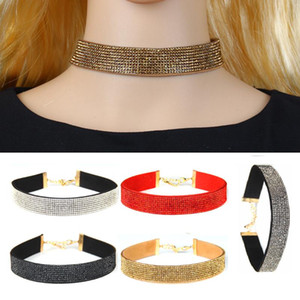 Wholesale Rhinestones Velvet Leather Choker Necklace Flannelette Collar Neck Short Chain Clavicle Necklace Women Vintage Jewelry Rope Chain Necklaces