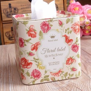 Free Shipping! Square Shape Fresh Pink Floral Metal Tissue Box Flower Design Rollpaper Case Holder Metal Storage Box