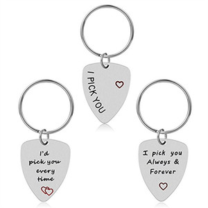 10pcs lot guitar pick key chain I Pick you Every time I pick you..forever Charm pendant key ring for lover jewelry Gift