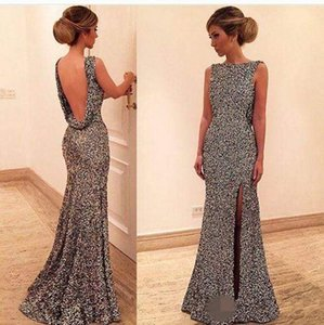 African Evening Dresses 2018 Sexy Sequins Backless Sheath Sleeveless Jewel Side Split Charming Style Evening Gowns Prom Dresses on Sale