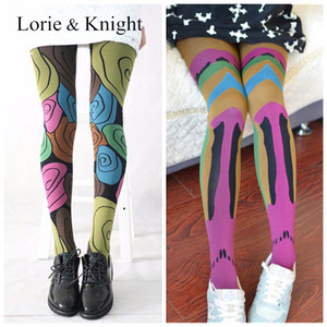 Wholesale Japanese Harajuku Colored Patterned Summer Tights Stockings for Ladies
