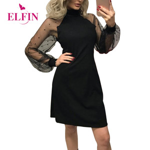 Wholesale Sexy Black Dress Woman Mesh Long Sleeve Solid Dress Autumn Streetwear Casual Part Mini Femme Clothes Vestido SJ181R