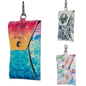 Wholesale Mini PU Leather Storage Bag Fashion Printing Earphone Storage Cover Headphone Case Protective USB Cable Organizer Key Card Bag with Buckle