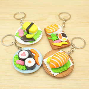 Wholesale Cute Simulation Sushi Key Chain Kitchen Food Salmon keychain Rainbow Sushi Box Pendent Handbag Keyrings Creative Gift for Kids Toys H443R