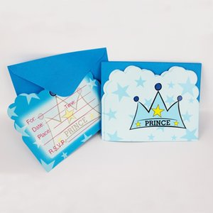 Wholesale Prince Theme Greeting Cards People Use Movie Kid Boy Girl Baby Happy Birthday Party Decoration Kids Supplies Favors Invitation Cards