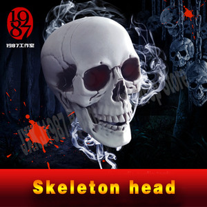 Real life room escape prop Skeleton head   Skull Head plastic material, odorless and durable scary decoration, bar decoration, Halloween