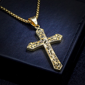 Wholesale Classic alloy Jesus Cross Hip hop Pendant Necklace FULL Rhinestones thick gold plating hip hop jewelry Hiphop styles mens necklace