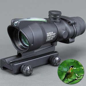 Trijicon Hunting Scope ACOG 1X32 Tactical Red Dot Sight Real Green Fiber Optic Riflescope with Picatinny Rail