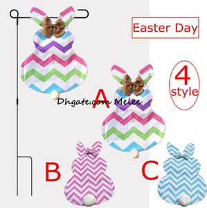 Wholesale Diy Chevron Easter Bunny Flags Canvas Rabbit Garden Flag with Jute Bow Tie Easter Home Decoration Cute Bunny Shape Garden Flag styles free