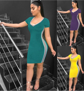 Wholesale women designer mini dress striped bodycon Knitted skirts above knee summer sexy casual dresses v neck short sleeves pencil dresses