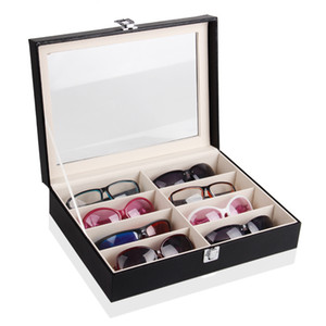Wholesale TONVIC pc Black Leatherette Glasses Sunglass Display Case Box Tray Stand Holder Compartments With Clear Acrylic Lid