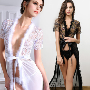 Wholesale sex long gown resale online - Women Kimono Sexy Lingerie Black White Long Erotic Dress Night Gown Nightie Sleepwear Lace Robe Sex Lingerie Bathrobe Nightgown S1011