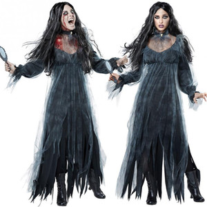Women Scary Zombie Style Cosplay Clothing Black Irregular Long Sleeve Long Halloween Ladies Cosplay Dress New
