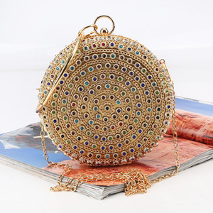 Round dinner bag Set auger New colored gemstone hand bags Rhinestone banquet bag with a bracelet high quality for bridal and lady wear