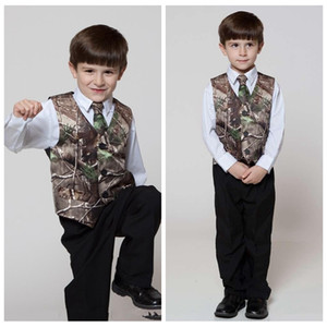 2018 Real Tree Camo Boy's Formal Wear Vests With Ties Camouflage Groom Boy Vest Cheap Satin Custom Formal Wedding Vests Camouflage