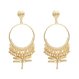 Wholesale idealway Fashion Ethnic Fringe Round Metal Dragonfly Pendant Drop Dangle Earrings Jewelry Gift