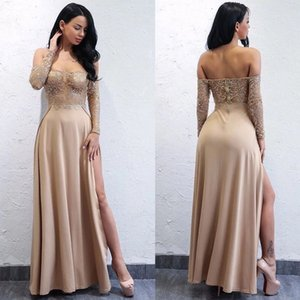 Wholesale Sexy Long Sleeves Prom Dresses Illusion Bodice Lace Satin Full Length Side Splits Champagne Women Party Dresses Summer Autumn Black Dresses