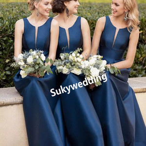 Royal Blue Bridesmaid Dresses Sheer Jewel Neck Sleeveless Satin Long Wedding Formal Dresses A line Wedding Guest Gowns abiti da damigelle