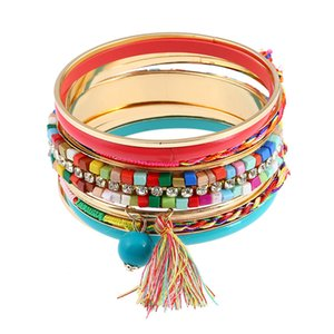 Wholesale Spanish design women jewelry fashion new retro boho style hand mixed acrylic women tassel bracelet bracelet femme pulsera SP060