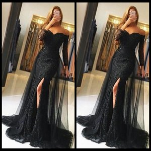 New Arrival Party Dresses Black Long Evening Dresses 2020 Lace Off Shoulder Long Sleeves Mermaid Prom Gowns Sexy Side Split Dress on Sale