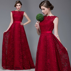 Wholesale Lace Long Burgundy Evening Dresses A Line Floor Length Lace Up Cap Sleeves Scalloped Neckline Prom Gowns Plus Size Party Dresses
