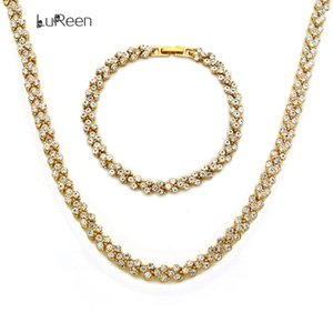 LuReen Charm Mens Necklace Chain Shine Heart Rhinestone Gold Bracelet Chian Long Statement Necklace Jewelry Party Gift LN0013